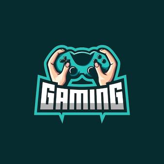Dłoń trzymająca niesamowite logo jostick dla graczy