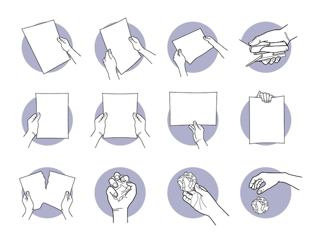 Dłoń trzymająca papier a4, zszywa, rozrywa, pogniewa i wyrzuca papier.