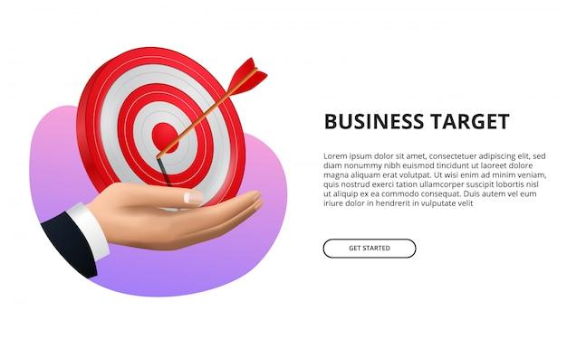Dłoń trzymająca planszę 3d czerwony cel ze strzałką łuczniczą. sukces w biznesie, celowanie i osiągnięcie celu