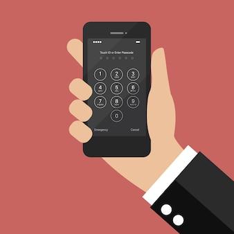 Dłoń trzymająca smartfon z ekranem logowania i wprowadzaniem hasła. ilustracja wektorowa