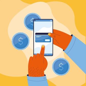 Dłoń trzymająca smartfon z kartą kredytową płatności online