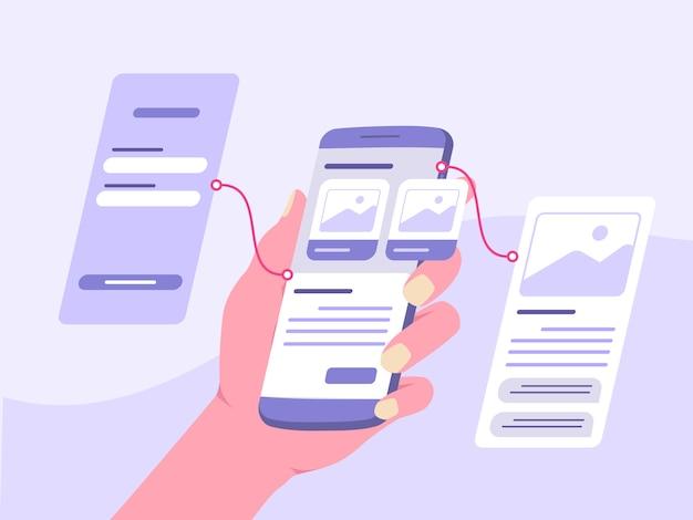 Dłoń trzymająca smartfona demonstracyjna prototypowa aplikacja mobilna na desce rozdzielczej w stylu płaskiej kreskówki.