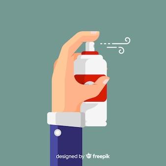 Dłoń trzymająca spray na komary
