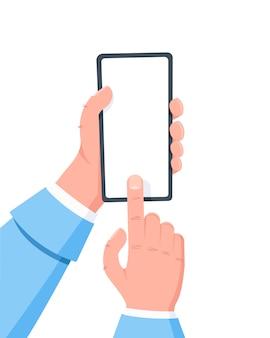Dłoń trzymająca telefon komórkowy, palec klika na ekranie. korzystanie z inteligentnego telefonu komórkowego.