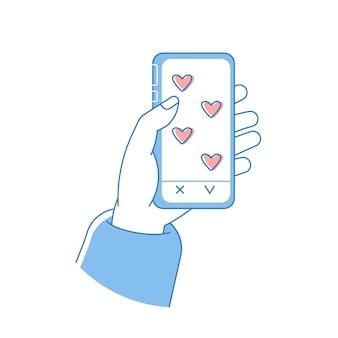 """Dłoń trzymająca telefon z miłosnymi e-mailami przycisk """"lubię to"""" wysyłaj do siebie listy miłosne"""
