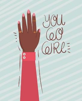 Dłoń w pięść i idź dziewczyno inicjacji kobiet. ilustracja kobiece pojęcie władzy feministycznej