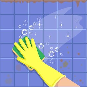 Dłoń w żółtej rękawiczce z gąbką myje płytki. koncepcja dla firm sprzątających. przed i po czyszczeniu. ilustracja wektorowa płaski.