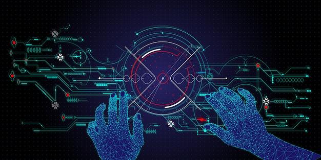 Dłonie dotykają przyszłości technologii interfejsu użytkownika i przyszłości doświadczenia użytkownika.