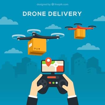 Dłonie, pilot i drony dostawcze