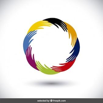 Dłonie sylwetki umieszczone w formie okrągłej