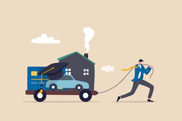 Dług, koszty utrzymania lub wydatki do opłacenia, zobowiązanie finansowe do koncepcji stylu życia, wyczerpany biznesmen ciągnie wózek z ciężarem hipoteki na dom, spłatę samochodu, pożyczkę edukacyjną i zadłużenie z tytułu karty kredytowej