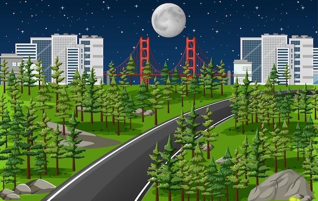 Długa droga w krajobrazie przyrody w scenie nocy