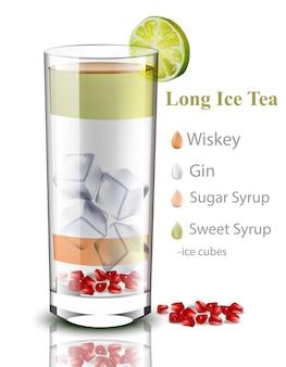 Długa mrożona herbata. realistyczny kieliszek mieszanki koktajli. pić przepisy na menu, strony, układy