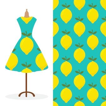Długa sukienka damska makieta z jasnym, bezszwowym, ręcznie rysowanym wzorem do nadruku na papierze tekstylnym
