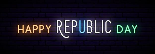 Długi neonowy sztandar dla india republiki dnia świętowania