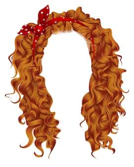 Długie kręcone włosy z czerwoną kokardką. kolory.
