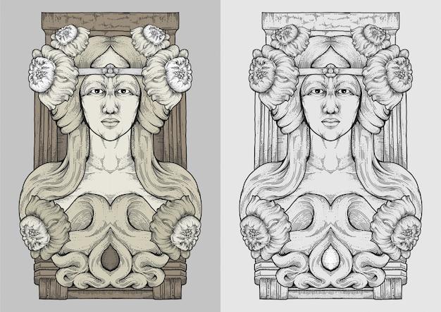 Długowłosa kobieta i kwiaty z rysunku grawerowania