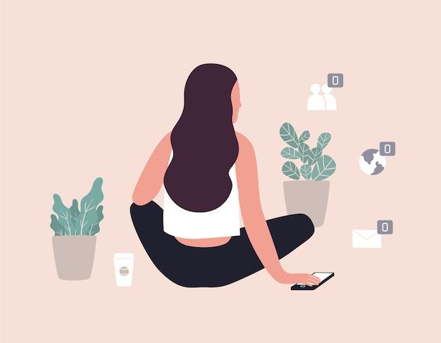 Długowłosa kobieta siedząca wśród roślin doniczkowych i zero symboli powiadomień o nieprzeczytanych wiadomościach. pojęcie samotności i samotności w internecie. ilustracja wektorowa kolorowe w stylu sztuki współczesnej.