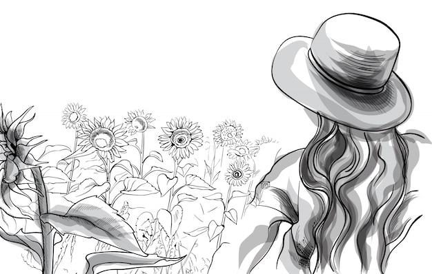 Długowłosy dziewczyna w kapeluszu i bluzce stojącej w słonecznikowym polu. grafika liniowa