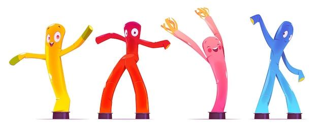 Dmuchane figurki, tańczące kolorowe mężczyzn o śmiesznych twarzach, nogach i ramionach.