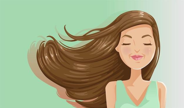 Dmuchanie włosów pięknej kobiety na zielonym tle.