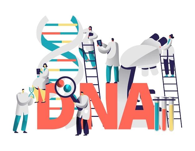 Dna gene medical test typografia banner.