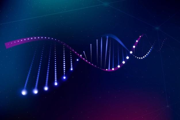 Dna genetyczna biotechnologia nauka wektor fioletowy neon graficzny
