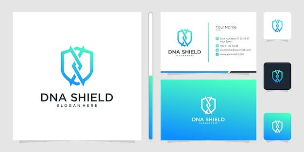 Dna shield logo design symbol ikona szablon wizytówka premium