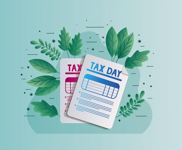 Dni podatkowych dokumenty z liścia wektorowym projektem