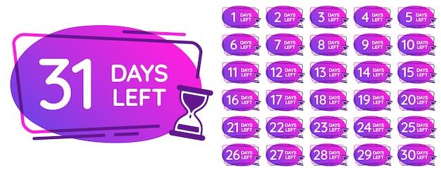 Dni pozostały odznaki. liczby dni odliczanie zegar, przypomnienie licznika klepsydry i piasek zegary razy odznaka zestaw ilustracji