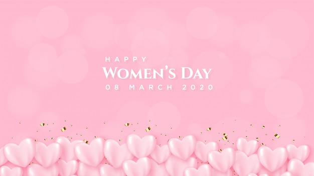 Dnia kobiety z różowym balonem z białym napisem.