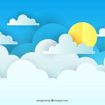 Dnia nieba tło z chmurami w papierowej teksturze