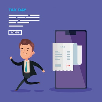 Dnia podatku ilustracja z biznesmena charakterem