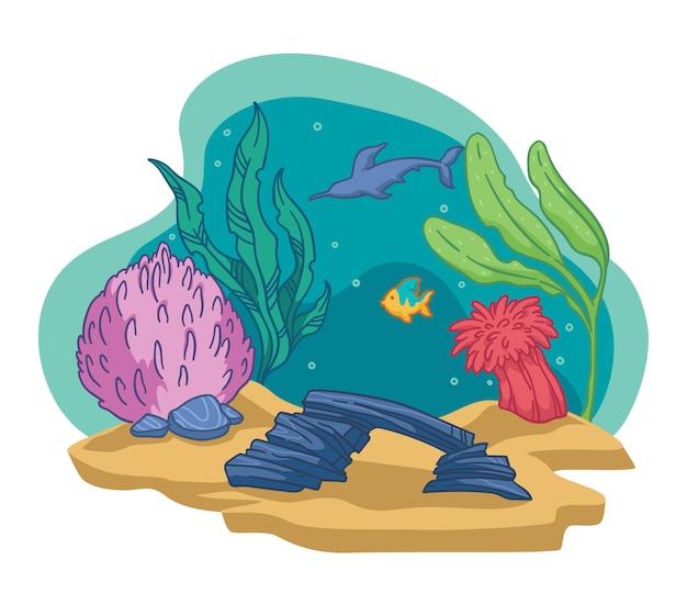 Dno morza lub oceanu, na białym tle akwarium lub dzika przyroda. podwodna flora i fauna. egzotyczne i dzikie wodorosty i pływające ryby. ozdobne kamienie i koral, piasek i rekin. wektor w stylu płaskiej