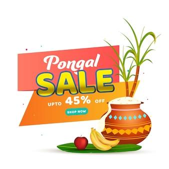Do 45% zniżki na projekt plakatu sprzedaży pongalskiej z garnkiem błotnym pełnym ryżu pongalskiego