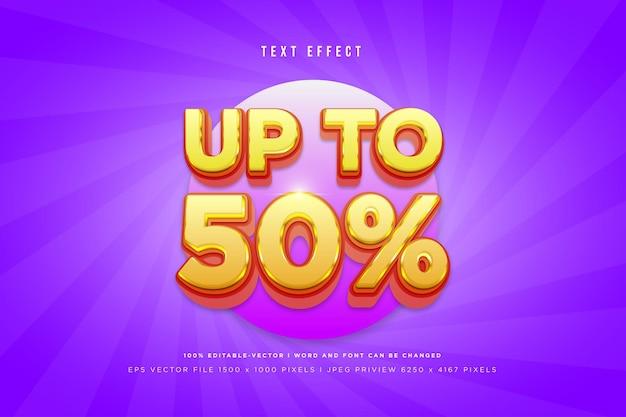 Do 50% efektu tekstu 3d na fioletowym tle