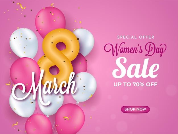 Do 70% zniżki na dzień kobiet projekt banera z błyszczącymi numerami 8 i balonami.