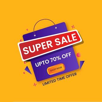 Do 70% zniżki na projekt plakatu super sale z fioletową torbą na zakupy.