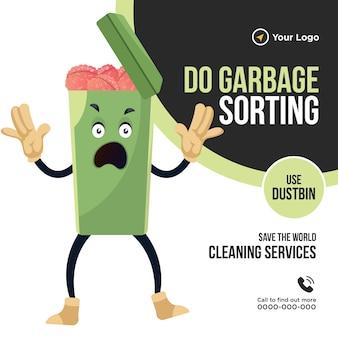 Do sortowania śmieci użyj projektu transparentu kosza na śmieci