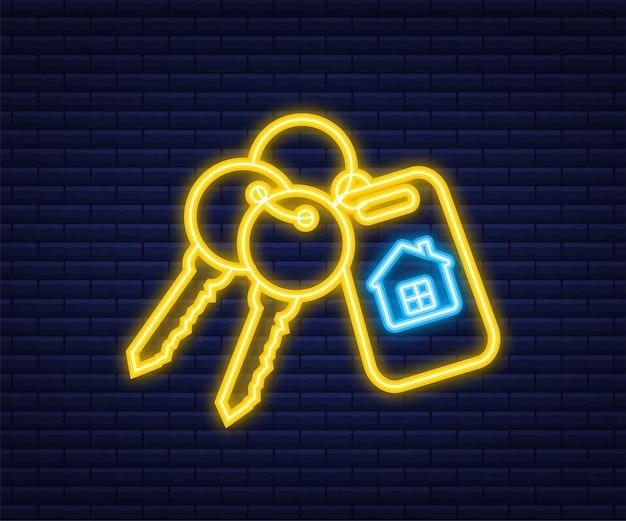 Do wynajęcia dom, koncepcja. agent nieruchomości trzyma klucz od domu. neonowy styl. ilustracja wektorowa.