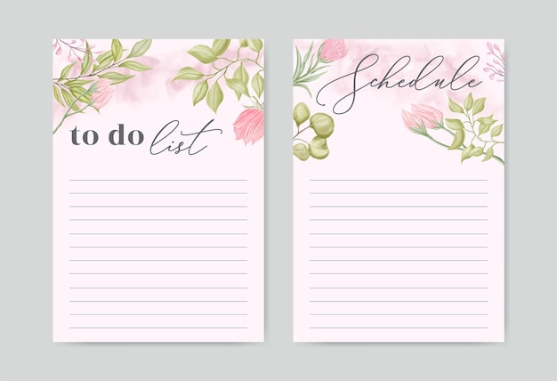 Do zrobienia kolekcja zestaw szablonów listy z akwareli tle kwiatów