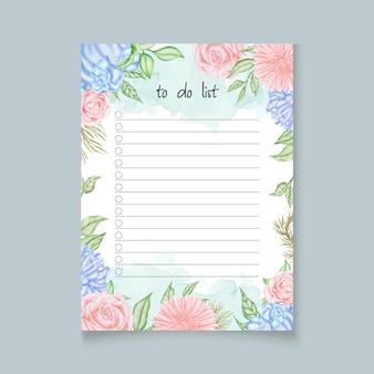 Do zrobienia szablon planowania listy z kolorowymi kwiatami