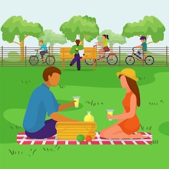 Dobiera się w parku, szczęśliwi ludzie przy pinkinem, ilustracja. mężczyzna kobieta postać rodziny o charakterze prześcigają, krajobraz lato.