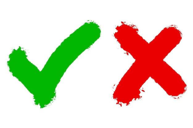 Dobra i zła ikona. ręcznie rysowane zielony znacznik wyboru i czerwonego krzyża na białym tle. ilustracja wektorowa.