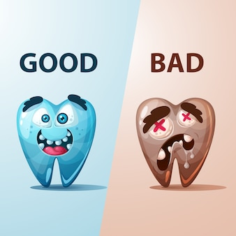 Dobra i zła ilustracja zębów.
