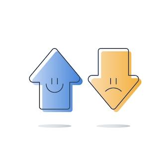 Dobra lub zła opinia klienta, ocena jakości usług, szczęśliwe lub nieszczęśliwe doświadczenie, ankieta zwrotna, badanie opinii, koncepcja oceny satysfakcji, strzałki w górę lub w dół, ikona