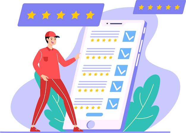 Dobra obsługa otrzymuje opinie wielu gwiazdek, nowoczesną koncepcję projektowania płaskich ilustracji dla stron internetowych lub tła