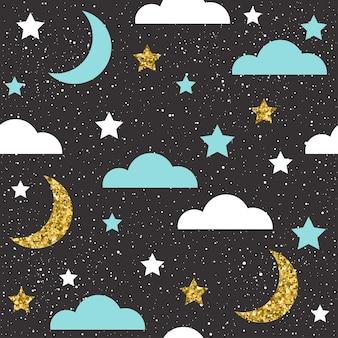 Dobranoc bezszwowe tło. biały, niebieski i złoty księżyc, gwiazdy i chmura dla karty, zaproszenia, albumu, okładki albumu, papieru do pakowania wakacji, tkaniny tekstylnej, odzieży itp. złota tekstura