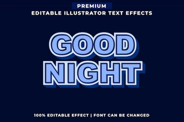 Dobranoc edytowalny efekt tekstu w stylu vintage