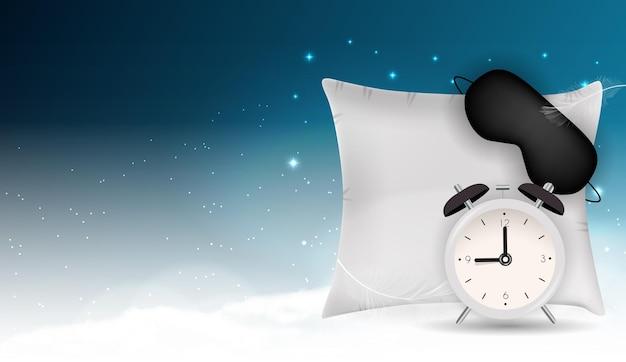 Dobranoc ilustracja z maską do spania, budzikiem i poduszką na tle błękitnego nieba, gwiazd i chmur.